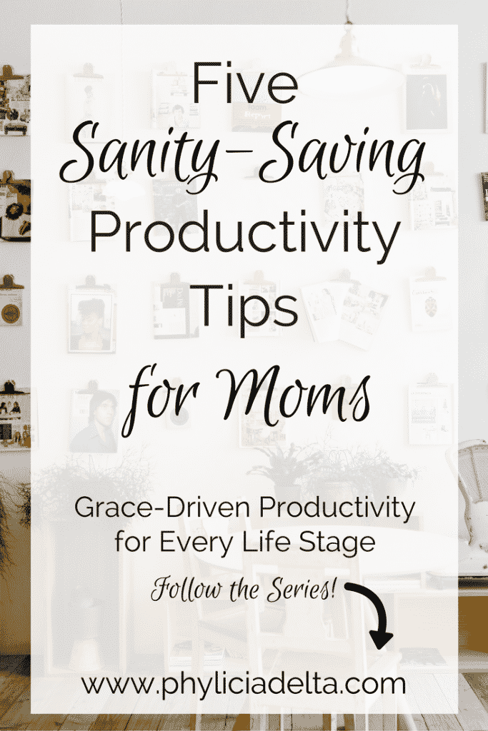 Below are five starter tips to stay productive as a wife and mom (concentrating more on motherhood than marriage, but the two often go hand in hand). As always, make these your own within the context of your individual lives: